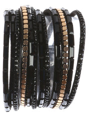 "14.50"" wrap multi layered faux suede bracelet glass bead"