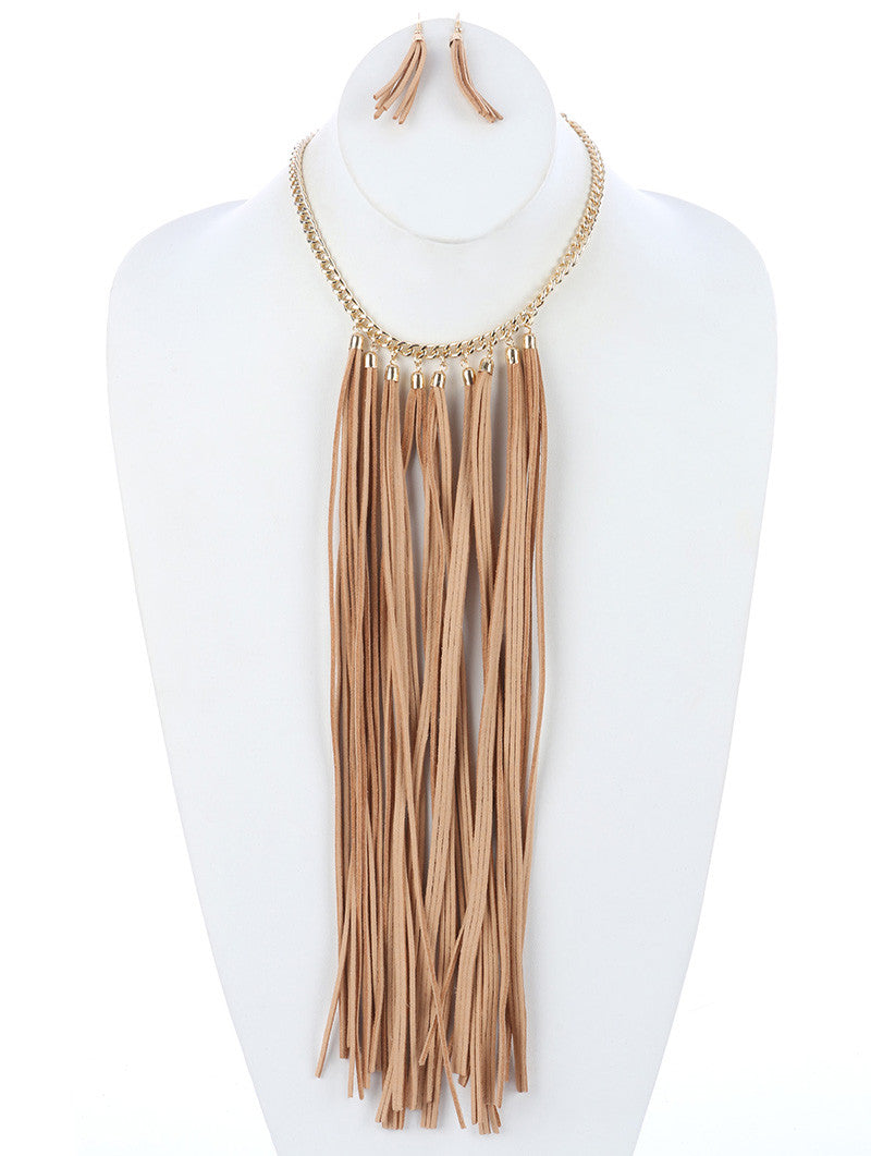 "16"" gold tassel fringe faux suede bib collar choker necklace earrings"