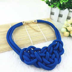 "16"" blue braided rope collar necklace"