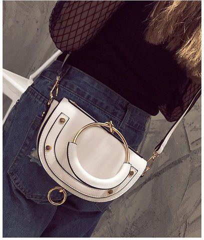round handle faux leather purse handbag clutch