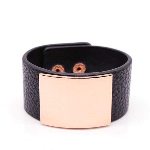 "7.50"" gold faux leather boho snap bracelet bangle 1.20"" wide"