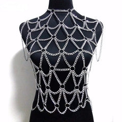 silver cage choker necklace chain body chain armor vest