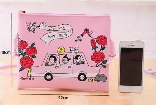cartoon large clutch faux leather bag purse handbag messenger bag