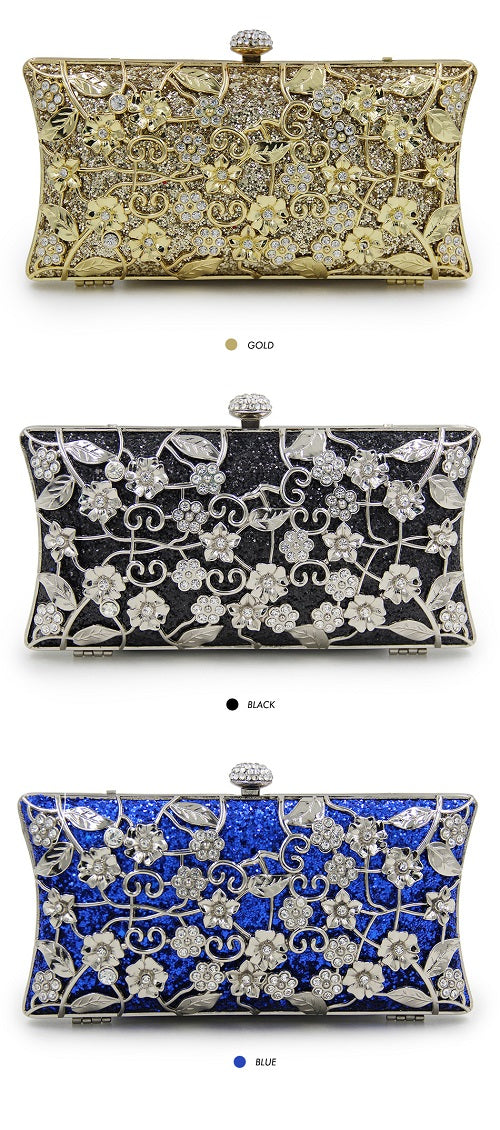 floral eye catching evening bag purse prom bridal handbag clutch