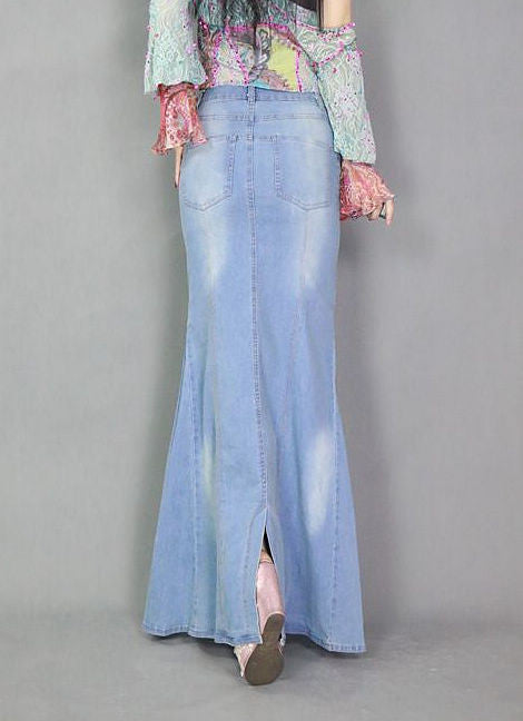 Denim Mermaid Blue Jean Skirt