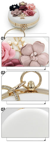 3D flower purse round handbag purse bridal prom