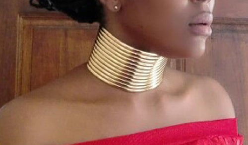 "11.50"" - 13.50"" gold faux leather choker collar bib necklace 2.25"" wide 7.50"" bracelet set"