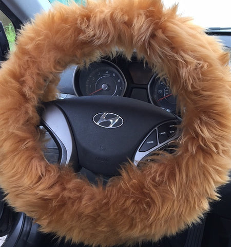 Orange Fur Fluffy Steering Wheel Cover 1 piece