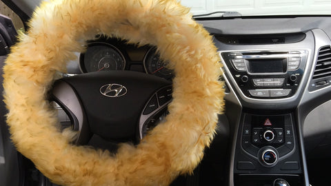 Yellow fur fluffy steering wheel cover 1 piece