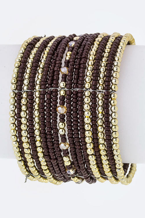 "brown bead boho bangle layered open cuff bracelet 2"" wide"