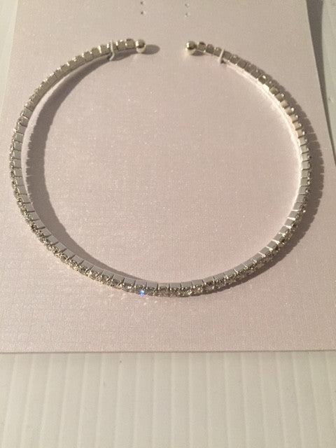 "14.50"" silver crystal tennis open cuff choker necklace bridal prom"