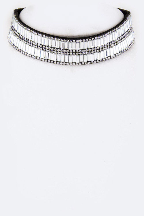 "13"" crystal choker collar necklace"
