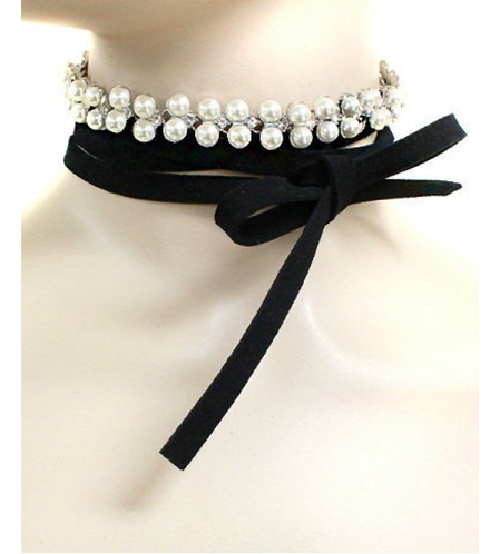 "70"" pearl crystal faux suede tie wrap collar choker necklace"