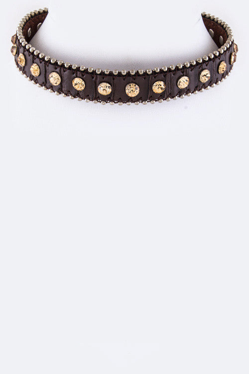 "15.50"" brown crystal  faux suede stud choker necklace"