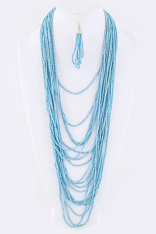 "21"" blue seed bead layered collar choker necklace 3.50"" earrings"