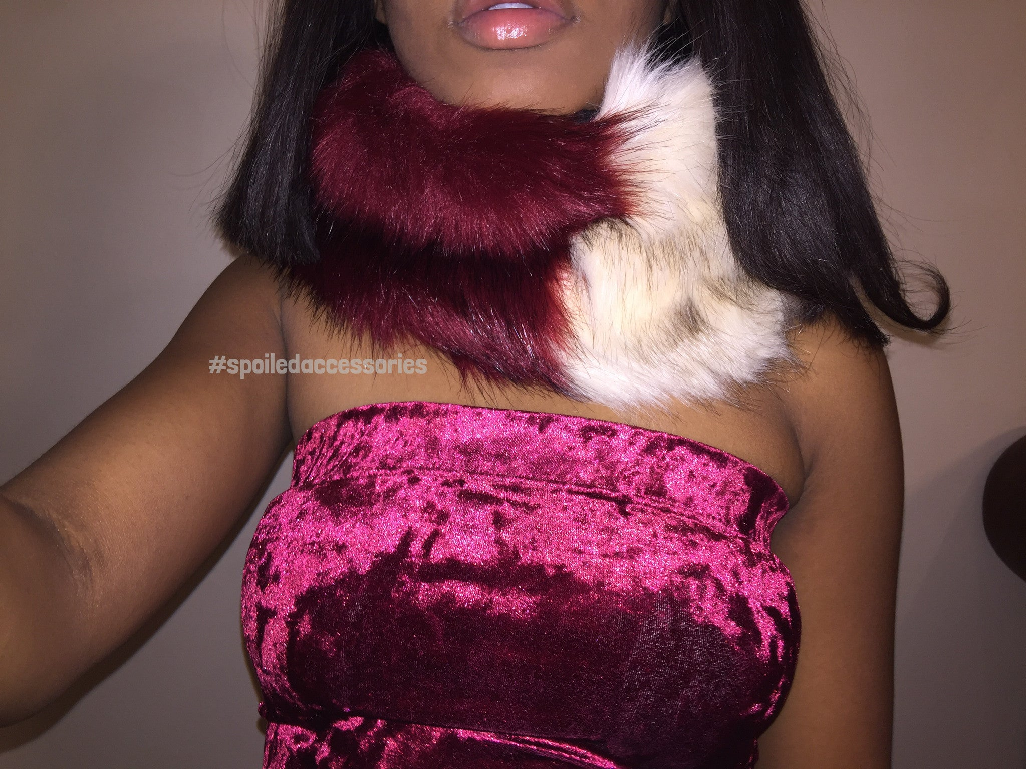 tri color faux fur burgundy plaid infinity winter scarf wrap