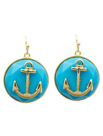 "1"" blue anchor earrings pierced nautical sea life"