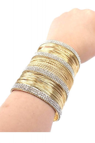 "3"" wide gold crystal pave bracelet bangle cuff wire"
