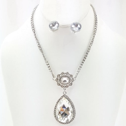 "15"" crystal 2"" pendant choker necklace .75"" earrings"