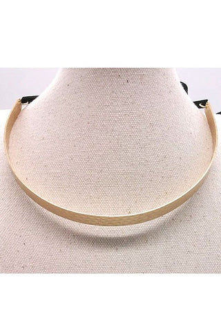 "10"" gold hammered choker faux suede wrap necklace .25"" wide"