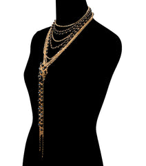"14"" faux pearl bead chain multi layered knotted long necklace .75"" earrings"