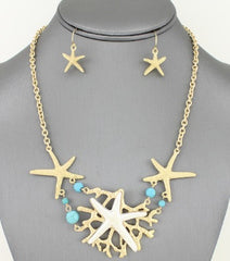"12"" starfish sea life nautical choker necklace collar bib earrings"