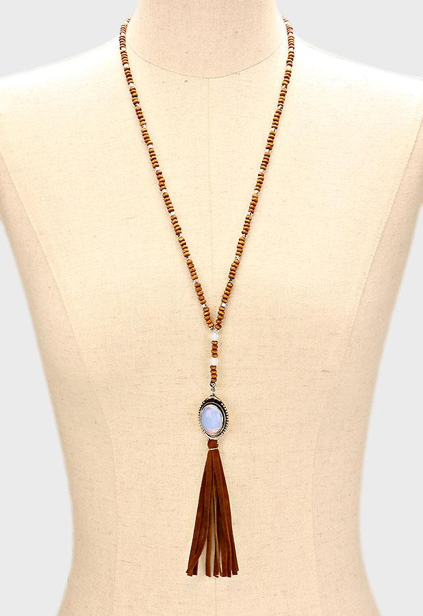 "28"" wood bead fringe tassel stone boho necklace"