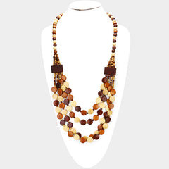 "30"" wood disc bead layered  boho necklace"