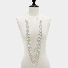 "pearl chain choker collar bib necklace 1.25"" earrings"