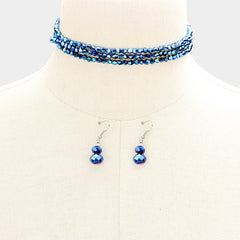 "45"" faceted 4mm bead necklace 1.50"" earrings"