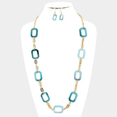 "34"" faux turquoise 1"" link long necklace .75"" earrings"