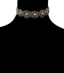 "16"" burnished silver choker necklace .90"" wide"