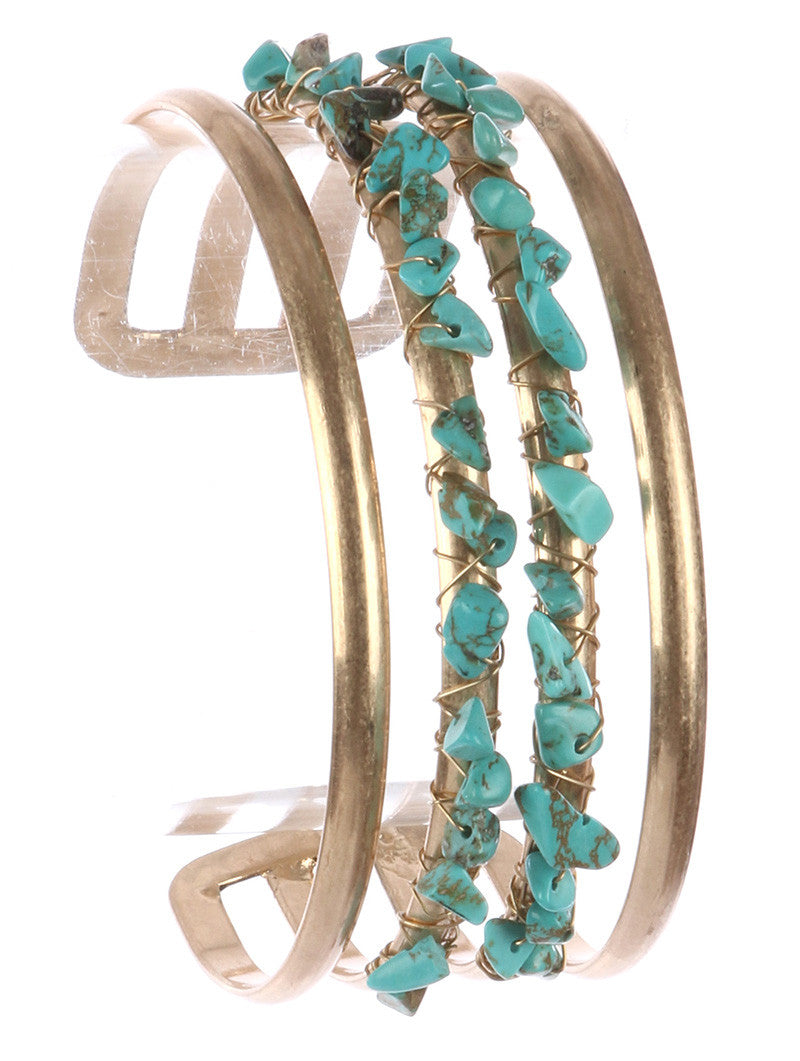 "7.75"" gold turquoise wire wrapped boho cuff bracelet bangle 1"" wide"