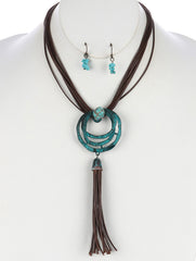 "16"" patina multi layered cord hammered rings 4.50""  tassel fringe necklace .65"" earrings"