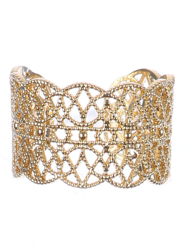 ".50"" wide filigree open cuff ring one size"
