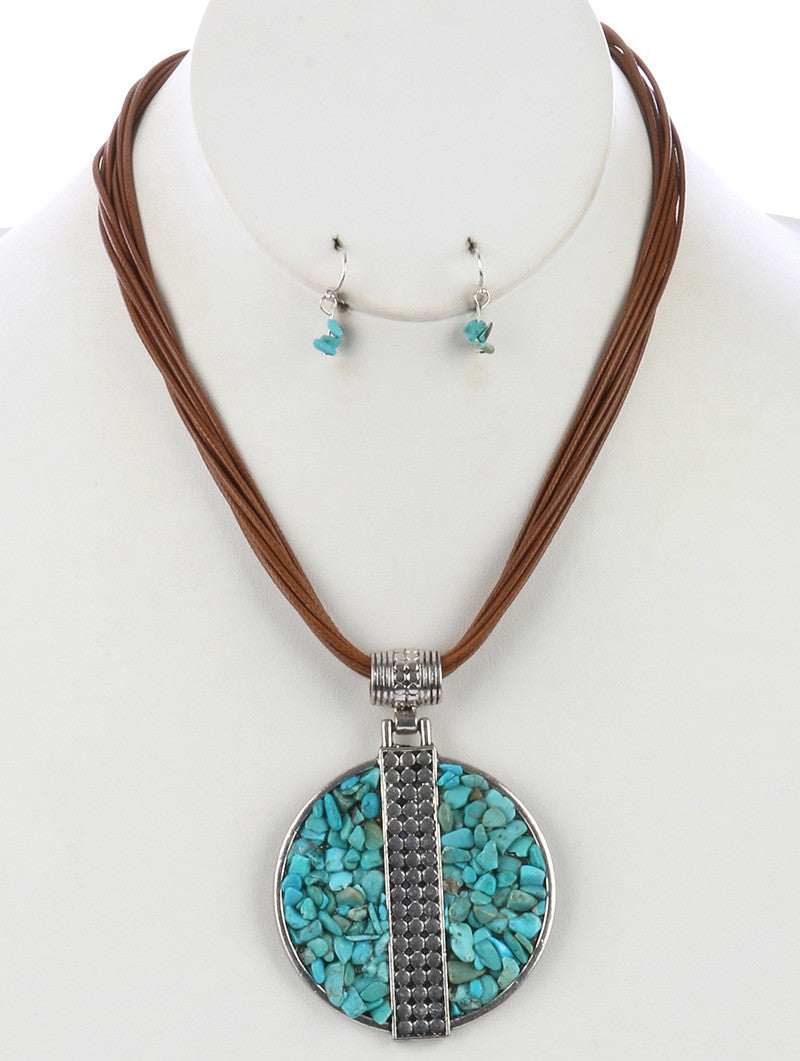 "16"" turquoise stone cord 2.50"" medallion pendant boho  necklace .50"" earrings"