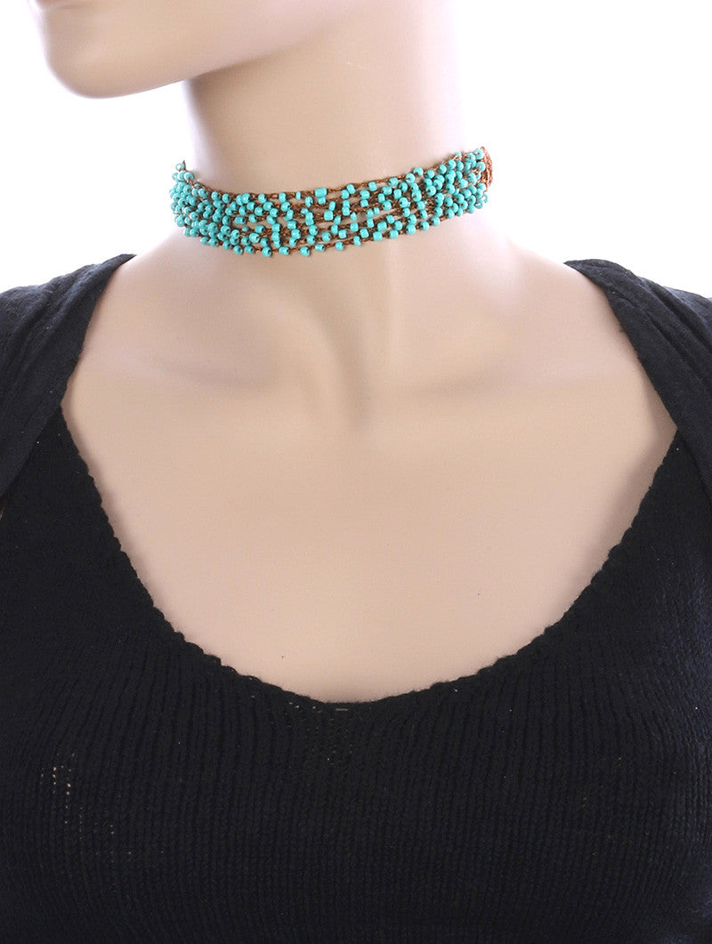 "12"" boho crochet bead choker collar Necklace .75"" wide"