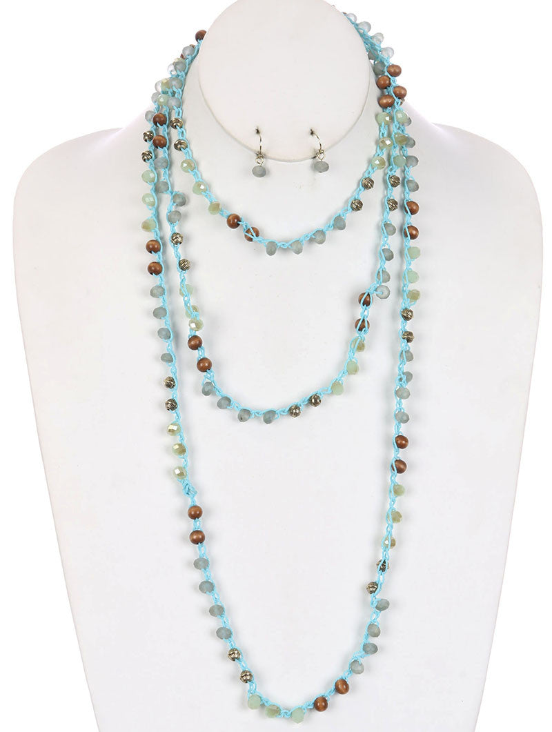"72"" mint green glass beads wrap necklace .25"" earrings"