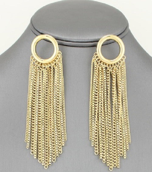 "4"" gold fringe dangle chain earrings"