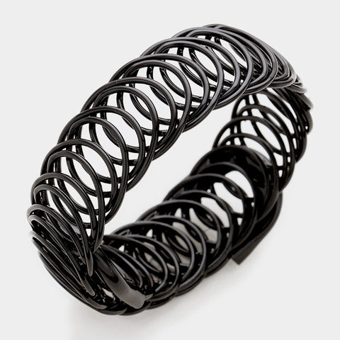 ".75"" wide coil bangle cuff bracelet stack cage basketball wives"