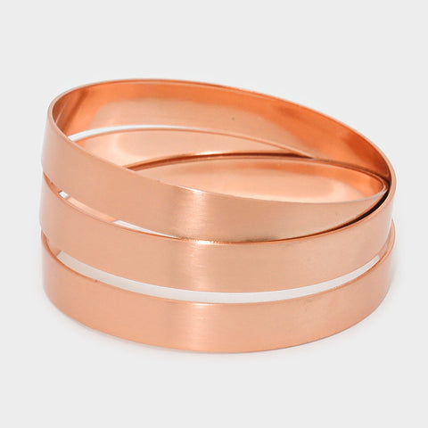 "1.20"" matte copper color coiled wrap cage cuff bracelet bangle"