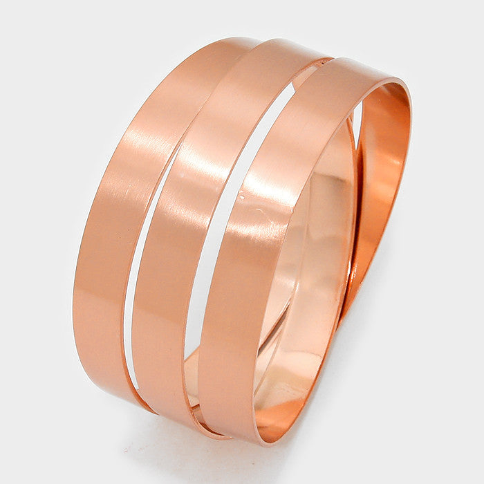 "1.20"" wide rose gold coiled wrap cage cuff bracelet bangle"