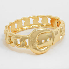 "6.50"" gold hinged 1.10"" buckle chain link bracelet bangle cuff stack"