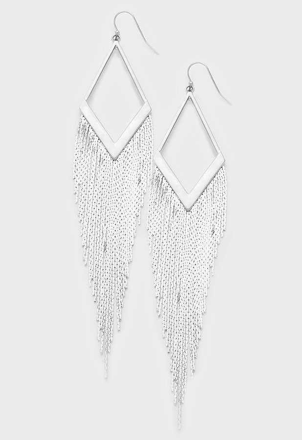 "4.50"" dangle 3.75"" fringe tassel earrings basketball wives pierced"