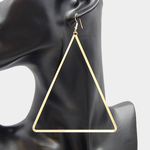 "4.50"" gold over sized triangle earrings pierced"