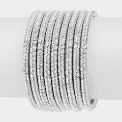 "7"" coil wire bracelet bangle cuff magnetic 9 row layer 1.50"" wide"