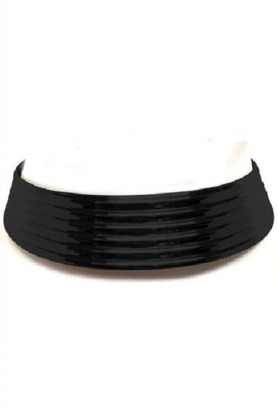 "11.50"" black ribbed collar choker necklace .50"" earrings 1"" wide"