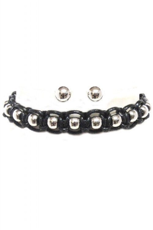 "12"" black balls choker collar faux leather necklace .30"" earrings"