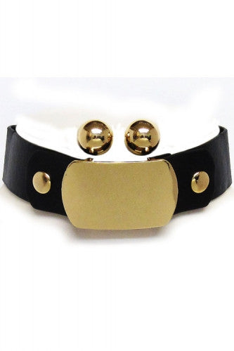 "12.50"" gold faux leather 2"" ID choker collar necklace .50"" earrings"