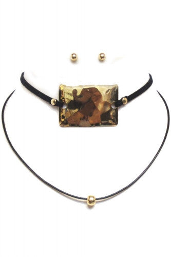 "13"" faux suede layered pendant choker collar bib necklace .25"" earrings"